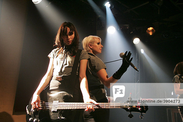 Emily Mann  bass player  and Sarah Blackwood  singer and front woman of the British electropop band Client live at the Boa cultural centre  Lucerne  Switzerland