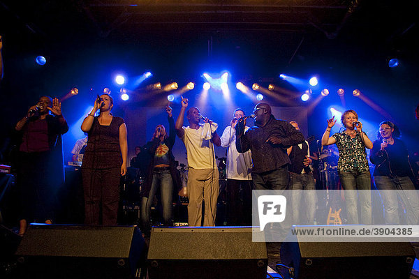 The International gospel  soul and funky choir Diversity Praiz live in the Schueuer venue  Lucerne  Switzerland