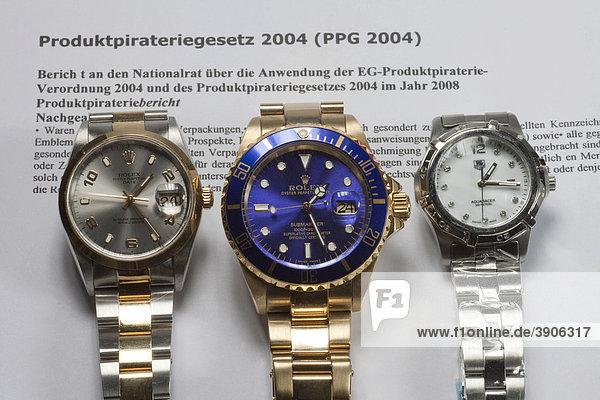 Plagiate von Luxusuhren  Produktpiraterie