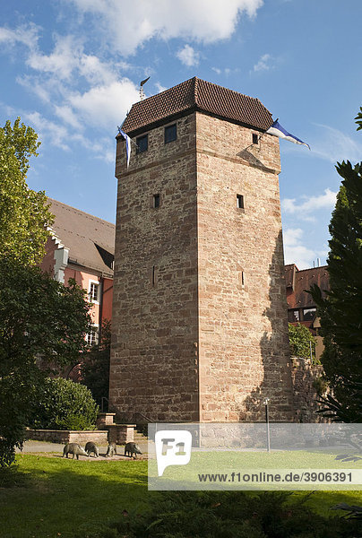 Pulverturm  mittelalterlicher Stadtturm  Eberbach  Rhein-Neckar-Kreis  Baden-Württemberg  Deutschland  Europa