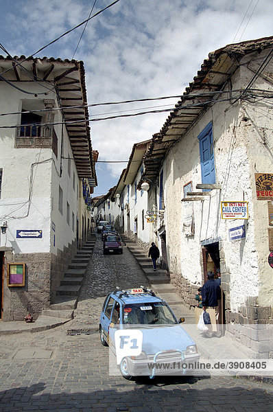 Enge Straße in Cusco  Peru  Südamerika