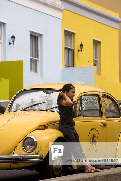 Bo-Kaap  colorful houses in the Malay Quarter  yellow VW Beetle  Cape Town  South Africa  Africa