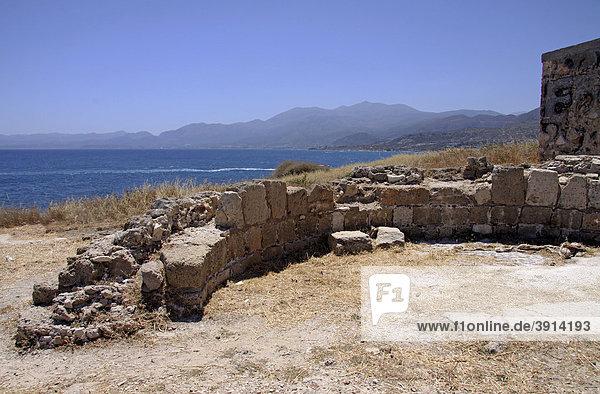 Wall ruins of an ancient church  Hersonissos  LimÌn Chersonisou  Crete  Greece  Europe