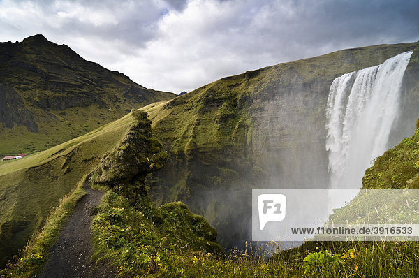Skogarfoss waterfalls  Iceland  Europe