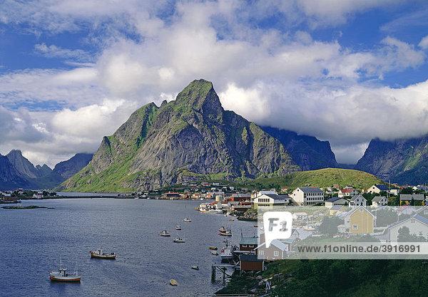 Hafen von Reine  Reinefjord  Lofoten  Norwegen  Europa