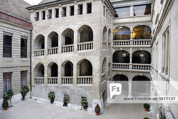 Innenhof Rathaus  Genf  Kanton Genf  Schweiz  Europa