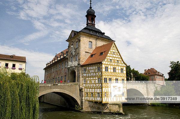 Das Alte Rathaus ist Weltkulturerbe der UNESCO  Bamberg  Fränkische Schweiz  Franken  Bayern  Deutschland  Europa