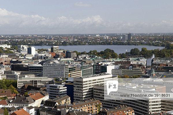 View from the tower of the St. Michaelis' church towards the Inner Alster and Outer Alster lake  Hamburg  Germany  Europe