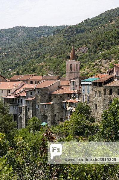 Ausblick auf das Bergdorf Isolabona  Nervia-Tal  Ligurien  Italien  Europa