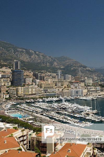 View of the harbor  Monte Carlo  Cote d'Azur  Monaco  Europe