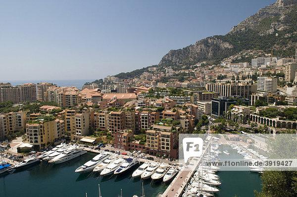 Hafen Port de Fontvieille  Monte Carlo  Cote d'Azur  Monaco  Europa