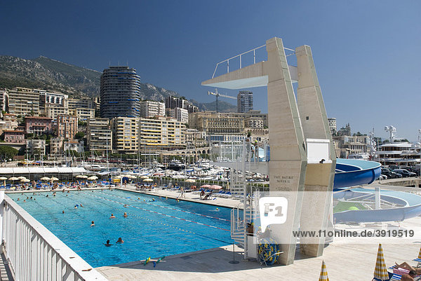 Outdoor pool and view of Monte Carlo  Monaco  Cote d'Azur  Europe