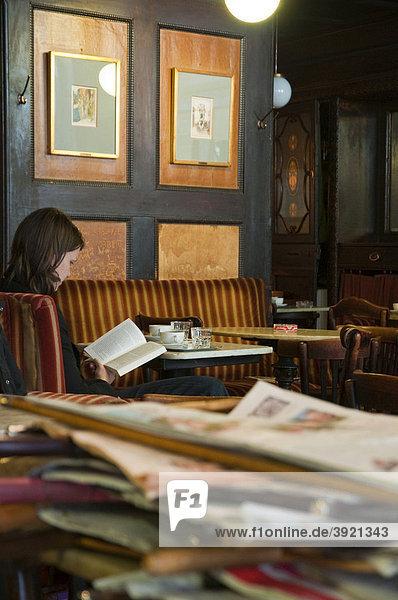 Newspapers  CafÈ Havelka  Wien  Oesterreich  Vienna  Austria  Europe