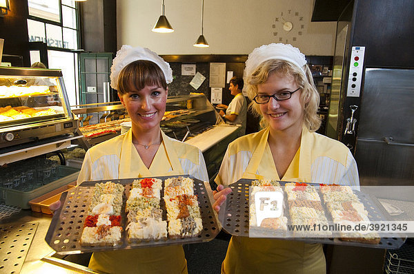 Women with the famous sandwiches,  buffet in the Trzesniewski restaurant,  Vienna,  Austria,  Europe