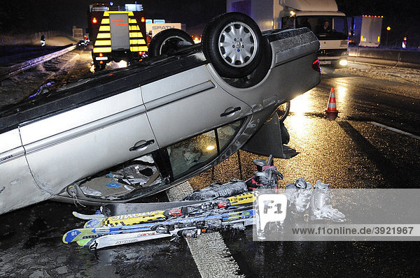 Serious traffic accident  truck with summer tires and too high a speed veered off onto the opposite lane and collided with a vehicle  Heimsheim  Baden-Wuerttemberg  Germany  Europe