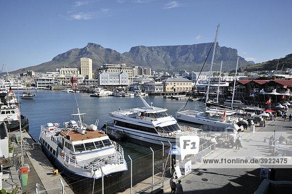 Blick auf die V & A Waterfront und Tafelberg  Kapstadt  Südafrika  Afrika