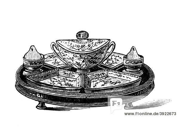 Schwedisches Cabaret  historische Illustration aus: Marie Adenfeller  Friedrich Werner: Illustriertes Koch- und Haushaltungsbuch  Friedrichshagen 1899-1900  S. 119  Fig 182