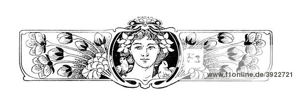 Jugendstil Vignette  historische Illustration aus: Anna Fischer Dückelmann: Die Frau als Hausärztin  Stuttgart  1907  S. 217