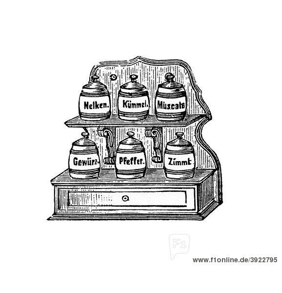 GewürzetagËre  historische Illustration aus: Marie Adenfeller  Friedrich Werner: Illustriertes Koch- und Haushaltungsbuch  Friedrichshagen 1899-1900  S. 319  Fig. 414