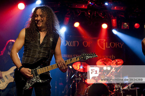 Markus Muther  guitarist of the Swiss metal band Crown of Glory live in the Schueuer concert hall  Lucerne  Switzerland