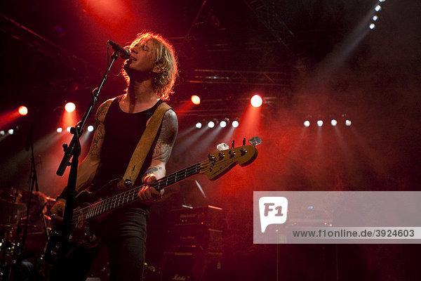 Micke Nilsson  bassist of the Swedish rock and metal band Bonafide live in the Transilvania venue in Erstfeld  Uri  Switzerland