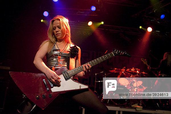 Klara Force  guitarist of the Swedish all-female heavy metal band Crucified Barbara live in the Transilvania venue in Erstfeld  Uri  Switzerland