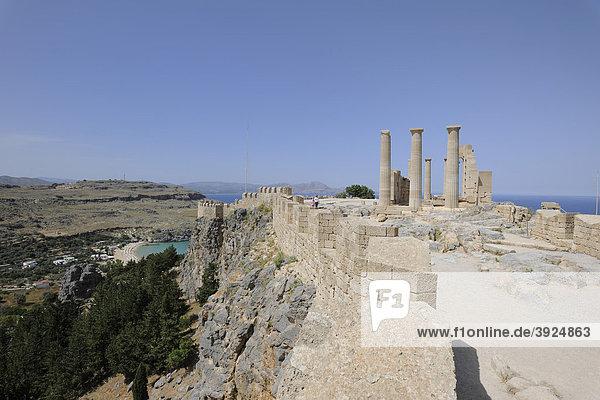 Temple of Athena on the Acropolis  Lindos  Rhodes  Greece  Europe