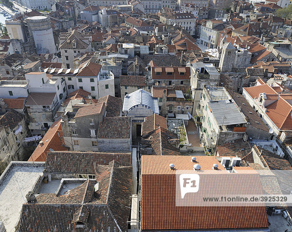 Looking west from the campanile of the Cathedral of St. Duje  Split  Croatia  Europe