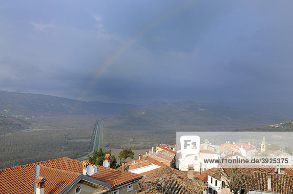 Rainbow over Motovun  Croatia  Europe