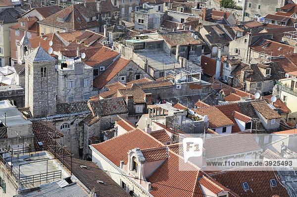 Blick nach Westen vom Campanile der Kathedrale von Split  Kroatien  Europa