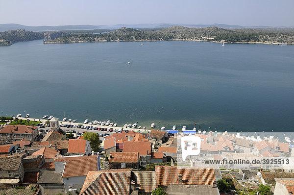 Overlooking the historic town centre of Sibenik  Croatia  Europe