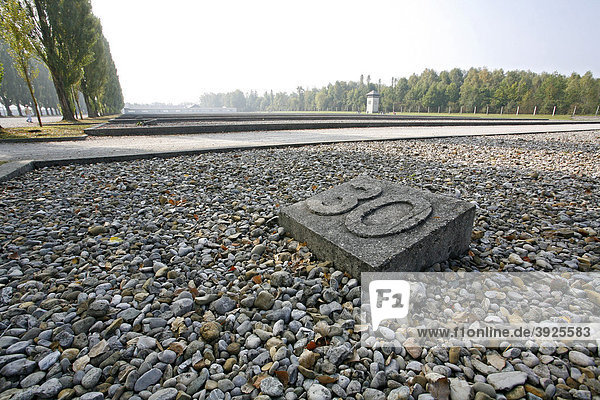 30 Baracken für je 200 Häftlinge standen hier  Gedenkstätte Konzentrationslager Dachau  Bayern  Deutschland  Europa