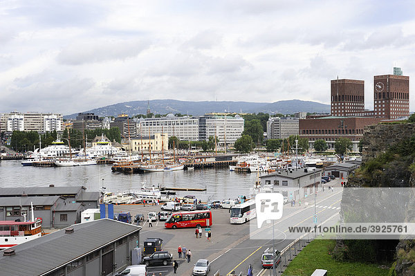 View of the harbour and the town hall of Oslo from the Akershus fortress  Norway  Scandinavia  Northern Europe