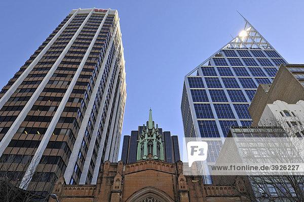 St. Stephens Uniting Church  Kirche  Hochhäuser  Deutsche Bank  Sydney  New South Wales  Australien