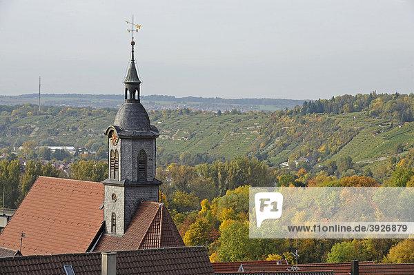 Blick auf Stadtkirche vom Oberen Torturm  Schillerstadt Marbach am Neckar  Baden-Württemberg  Deutschland  Europa