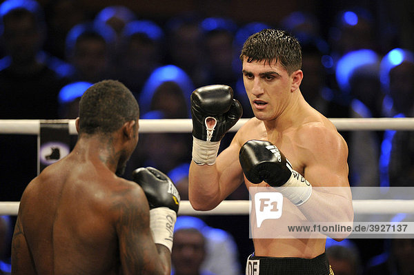 Boxing world championship fight  Marco HUCK  GER  vs. Ola Afolabi  GBR  WBO cruiserweight  Neue Arena Ludwigsburg  Baden-Wuerttemberg  Germany  Europe