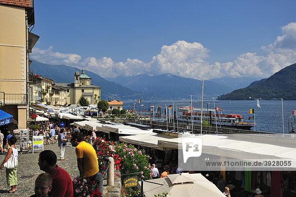 Promenade with the Pilgrimage Church of Santa Pieta  Lago Maggiore  Cannobio  Piedmont  Italy  Europe