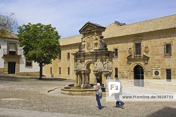 Seminario de San Felipe Neri und Brunnen  Santa MarÌa Platz  16. Jahrhundert  Baeza  Jaen Provinz  Andalusien  Spanien  Europa