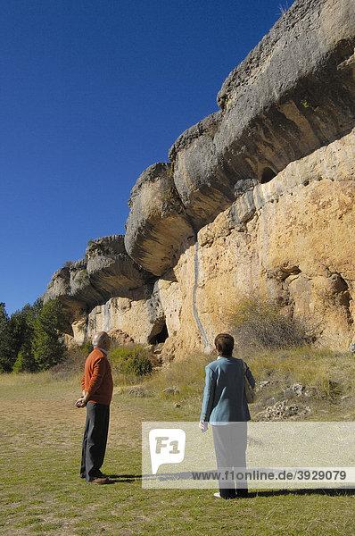 Felsformationen an der Verzauberten Stadt  La Ciudad Encantada  Provinz Cuenca  Castilla-La Mancha  Spanien  Europa