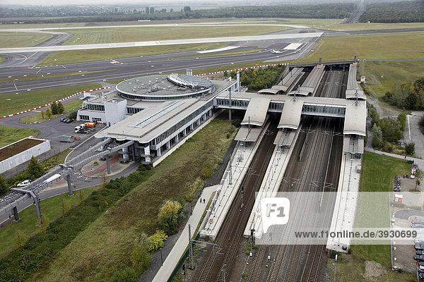 Flughafen Duesseldorf International Airport  airport railway station  Duesseldorf  North Rhine-Westphalia  Germany  Europe