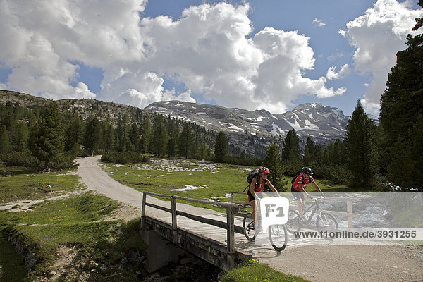 Mountain bike riders departing from Fanes hut  Trentino  Alto Adige  Italy  Europe