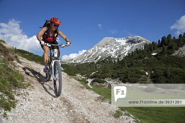 Mountain bike rider above the mountain village Fodara Vedla  Parco naturale Fanes-Sennes-Braies  Trentino  South Tyrol  Italy  Europe