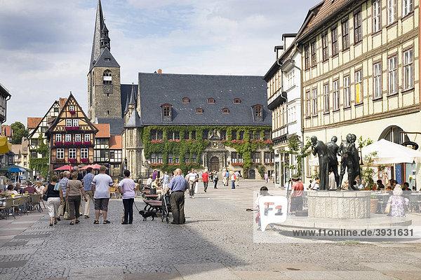 Markt  Quedlinburg  Sachsen-Anhalt  Deutschland  Europa