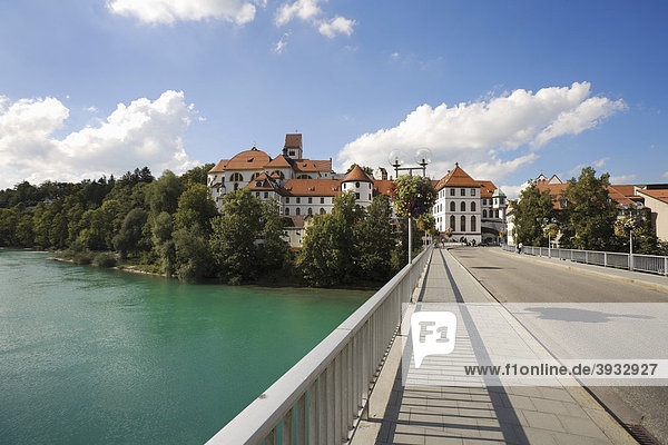 Fuessen on the Lech River  Upper Bavaria  Bavaria  Germany  Europe