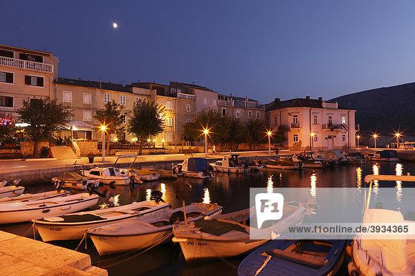 Boat harbor in Pag  Pag island  Dalmatia  Adriatic Sea  Croatia  Europe