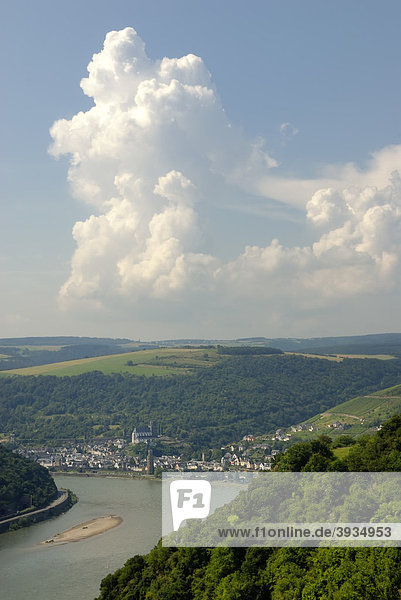 View from Beulsberg mountain near Urbar towards the town of Oberwesel  a town of towers and wine  UNESCO World Heritage Site  Upper Middle Rhine Valley  Rhineland-Palatinate  Germany  Europe
