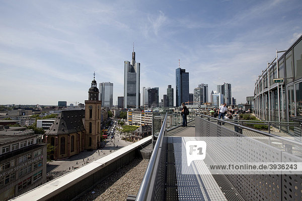 View of the financial district  Commerzbank  European Central Bank  Deutsche Bank  Hessische Landesbank and St. Catherine's Church  Frankfurt am Main  Hesse  Germany  Europe