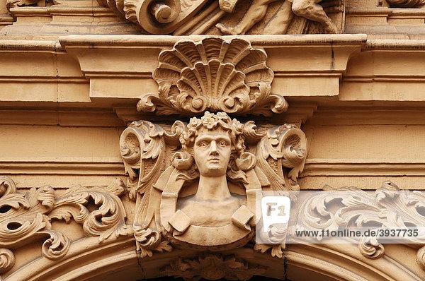 Detail des Einganges vom Böttingerhaus  erbaut von Johann Ignaz Böttinger  1707-1713  Judenstraße 14  Bamberg  Oberfranken  Bayern  Deutschland  Europa
