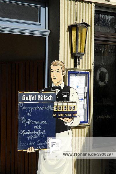 Gaffel Kölsch Werbung  Bar  Cafe  Restaurant in der Altstadt  Köln  Rheinland  Nordrhein-Westfalen  Deutschland  Europa Gaffel Kölsch Werbung, Bar, Cafe, Restaurant in der Altstadt, Köln, Rheinland, Nordrhein-Westfalen, Deutschland, Europa