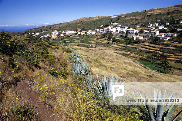 Wanderung  Wanderweg  Landschaft mit Gärten beim Dorf Arure  La Gomera  Kanarische Inseln  Spanien  Europa